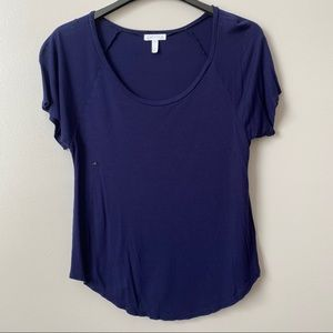Leith Blue Scoopneck Tee Shirt
